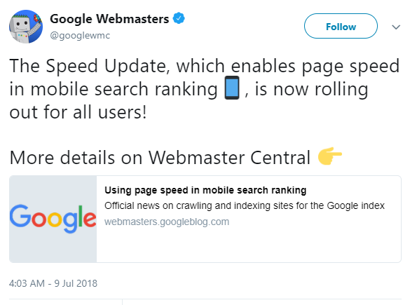 Website Speed update announcement via Twitter