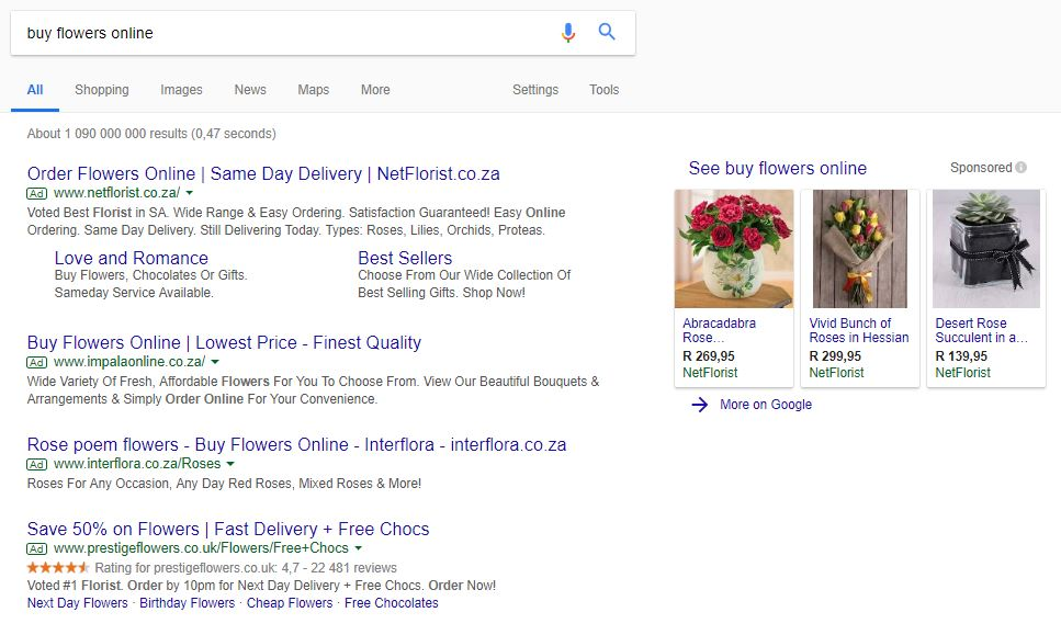 An image of florist ads on Google.