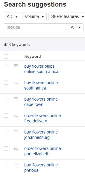 "An image of Ahrefs keyword suggestions for the phrase ""buy flowers online""."