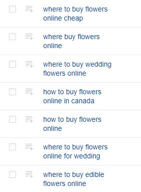 "An image of keyword suggestions for the term ""buy flowers online"" on Ahrefs."
