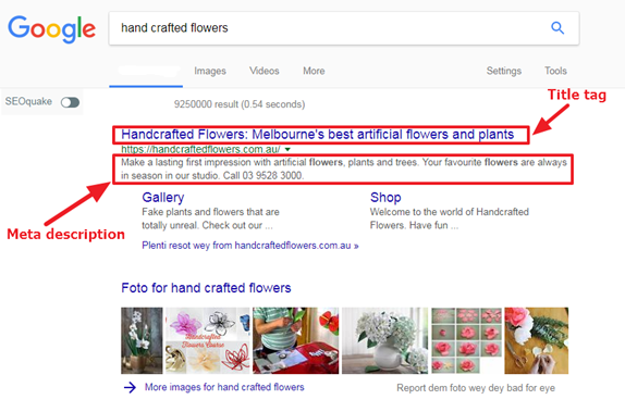 An image of title and meta description tags for a florist