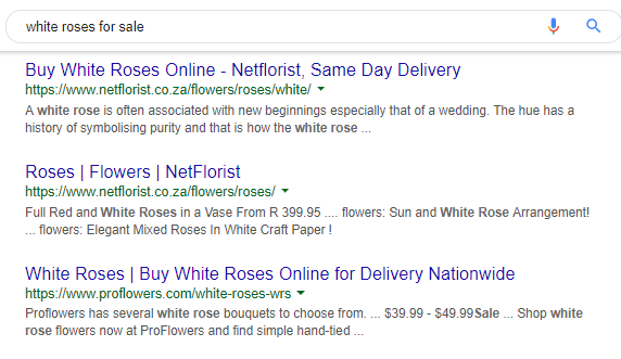 """An image of Google's """"white roses for sale"""" search results."""