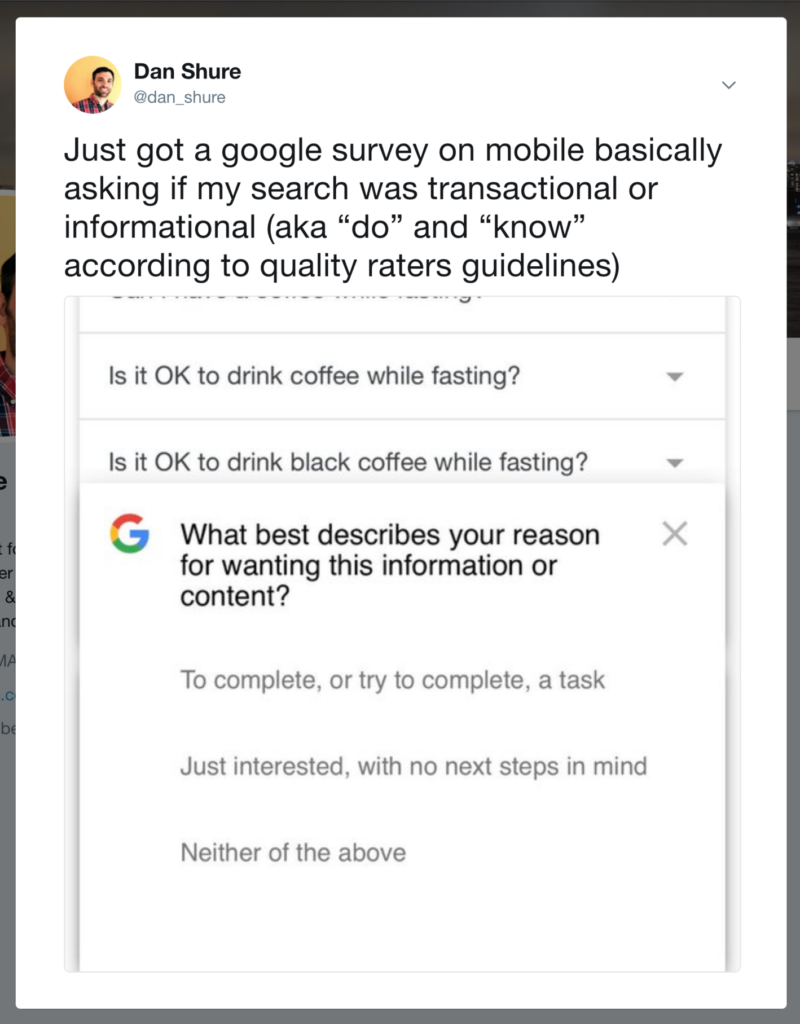 This is an image of a Google user intent survey.