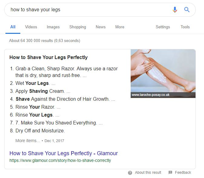 An image showing a featured snippet on how to shave your legs.