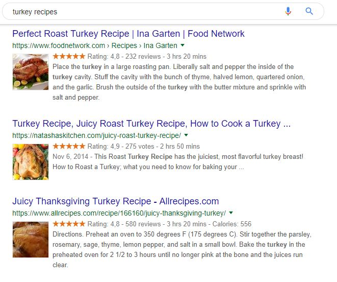 An image of schema markup examples of turkey recipes